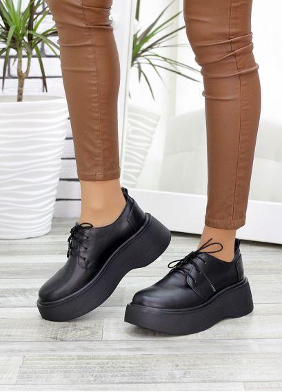Туфли броги черная кожа 7638-28