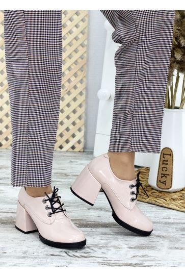 Туфли на толстом каблуке пудра лак-кожа 7658-28