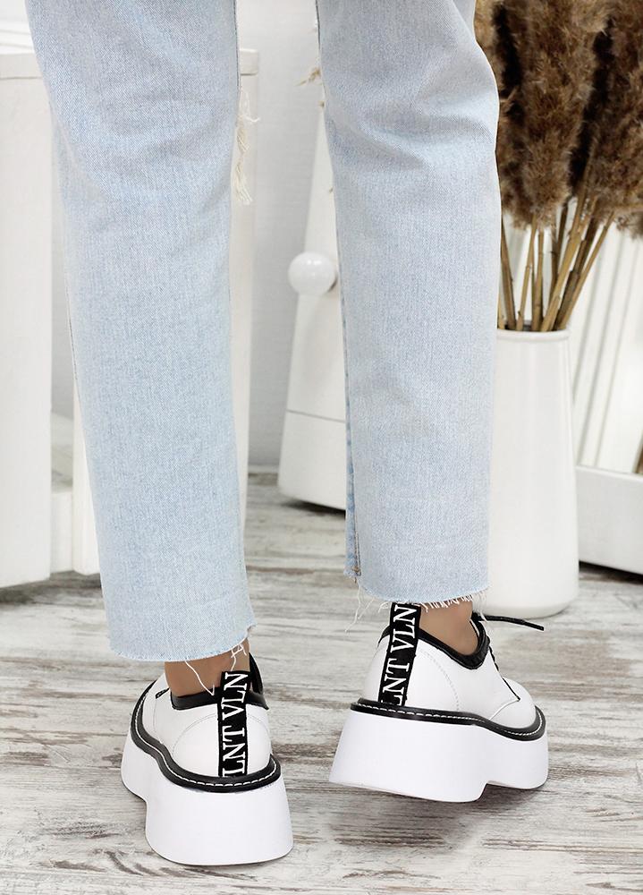 Туфли кожаные броги белые 7683-28