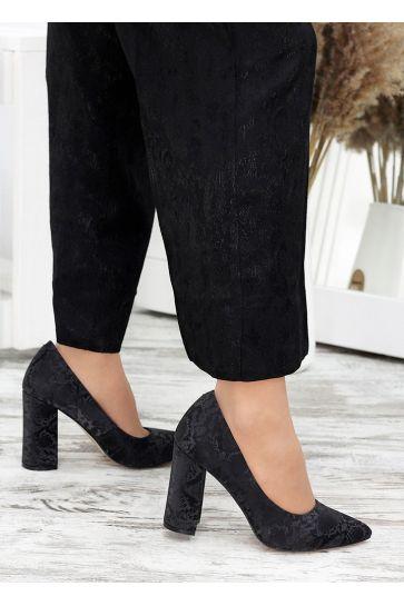 Туфли на каблуке черная кожа хаки 7697-28