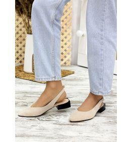 Туфлі босоніжки латте замша Rose 7709-28