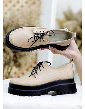 Туфлі броги беж шкіра 7783-28