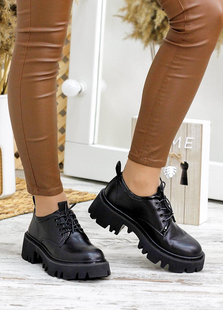 Туфлі броги чорна шкіра 7784-28