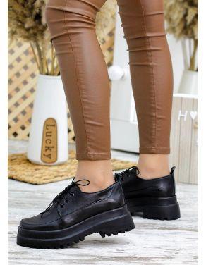 Туфлі броги чорна шкіра 7785-28