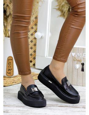 Туфлі лофери чорна шкіра 7793-28