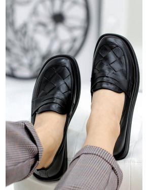 Туфлі лофери чорна шкіра Twist 7809-28