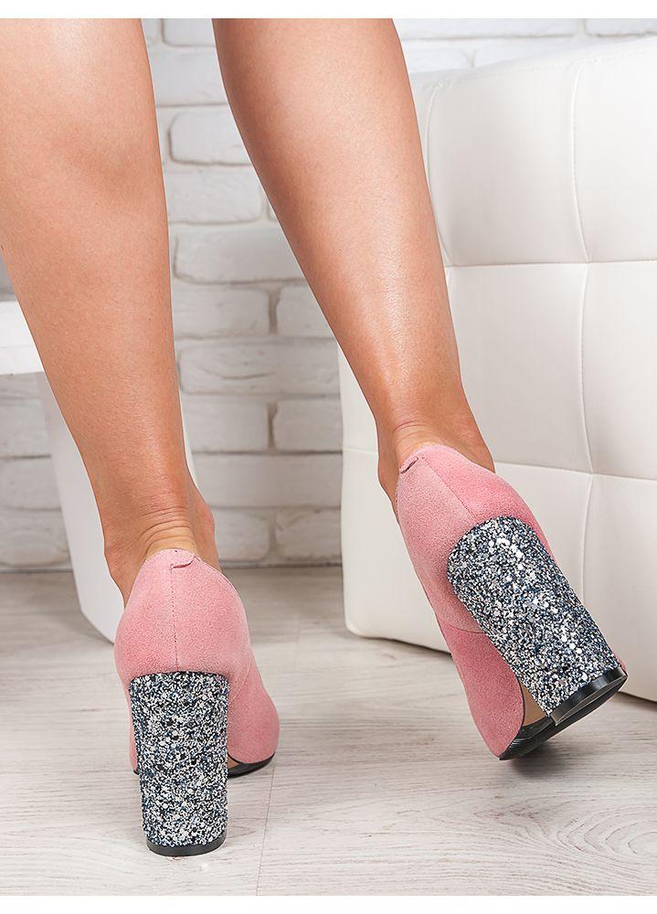 Туфлі на каблуці пудра блискітки 6470-28