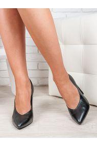 Туфли на каблуке черная кожа 6473-28