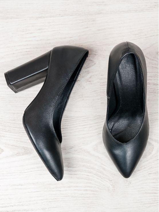 Туфли на толстом каблуке черная кожа 6473-28