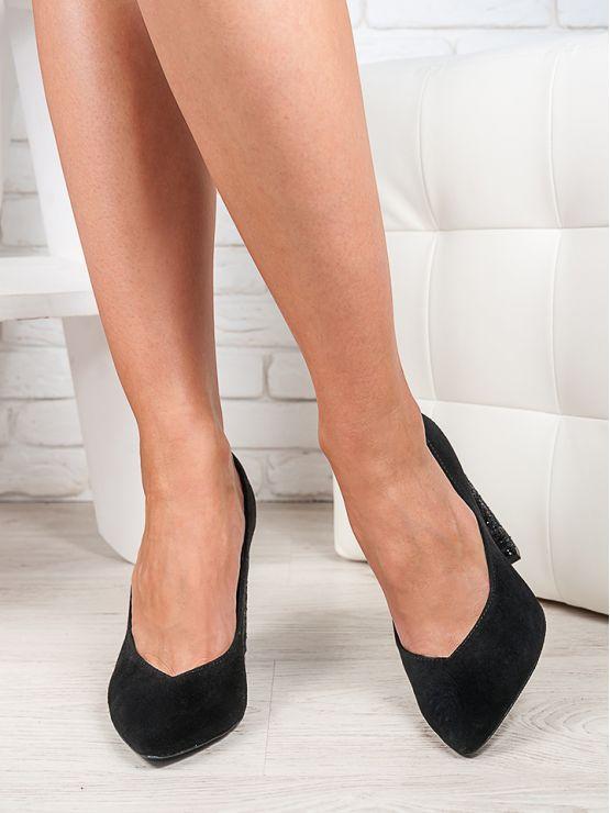 Туфли на толстом каблуке черная замша стекло  6472-28