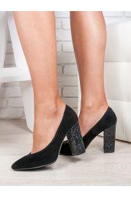 Туфли на каблуке черная замша блестки 6472-28