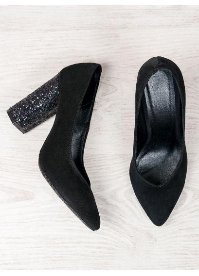 Туфлі на каблуці чорна замша блискітки 6472-28
