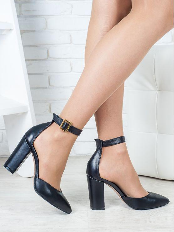Босоножки - туфли Bogemiya черная кожа 6393-28