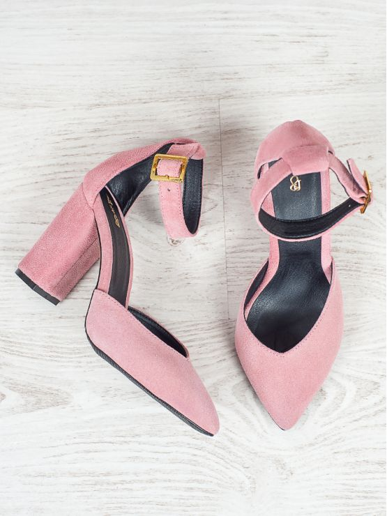 Босоножки - туфли Bogemiya пудра замша 6392-28